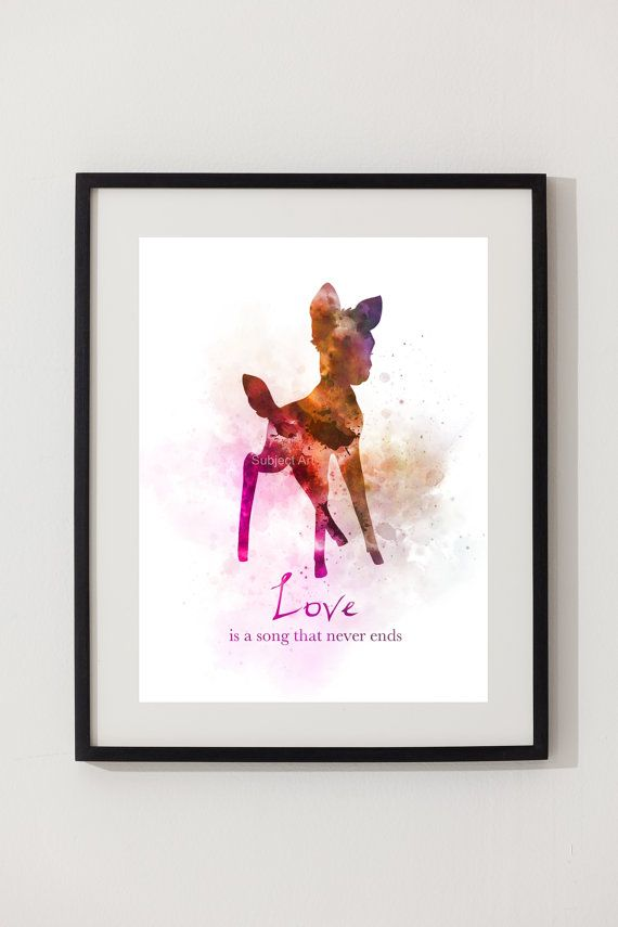 Bambi Quote ART PRINT illustration Disney inspired Wall Art