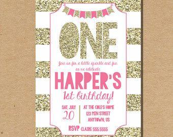 Printable Invitation 1st Birthday Invite Glitter by BestWishesCo