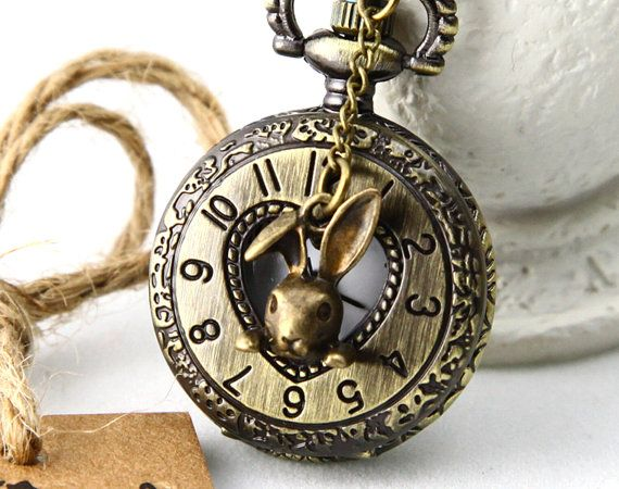 """Rabbit in Your Pocket Watch Necklace, """"I'm late, I'm late for a very important date"""""""