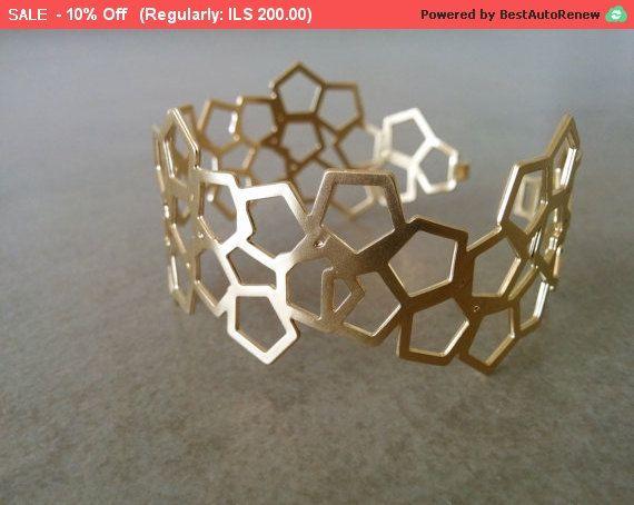 Cuff Bracelet Geometric Bracelet Honeycomb Bracelet Gold Bridesmaid Gift Gold Bangle Gold Bracelet Geometric Gold Bracelet