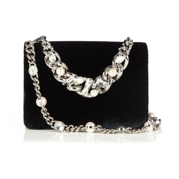 097bc14f450f Chains · Miu Miu Club crystal-embellished velvet cross-body bag ...