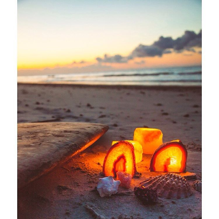 """""""Surf's up  Early morning beach hangs with some #SoulMakes style lighting ☀️ Shop crystal candle holders at www.SoulMakes.com"""""""