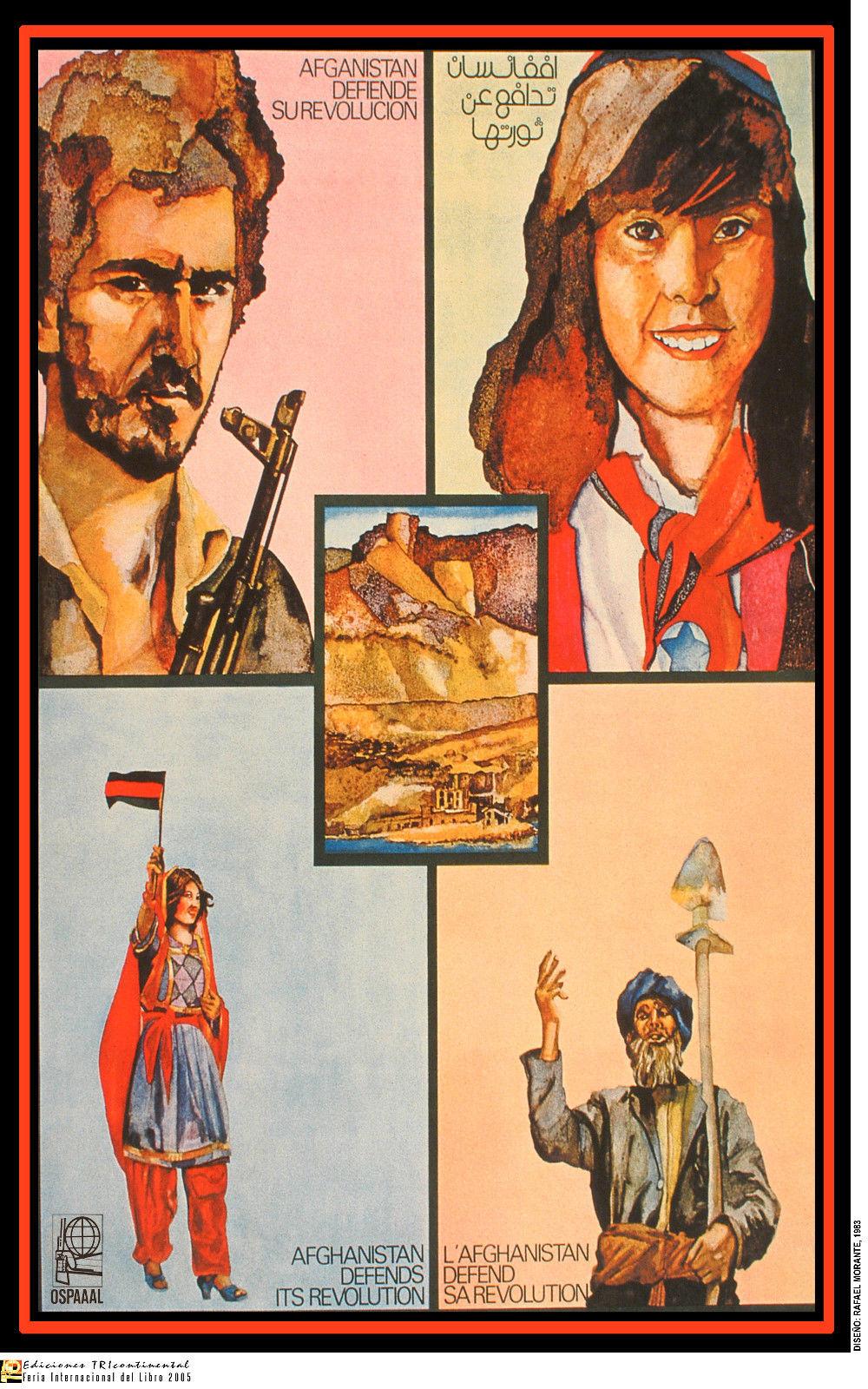 OSPAAAL Political Poster Afghanistan Defends it/'s Revolution 1983 Art ORIGINAL