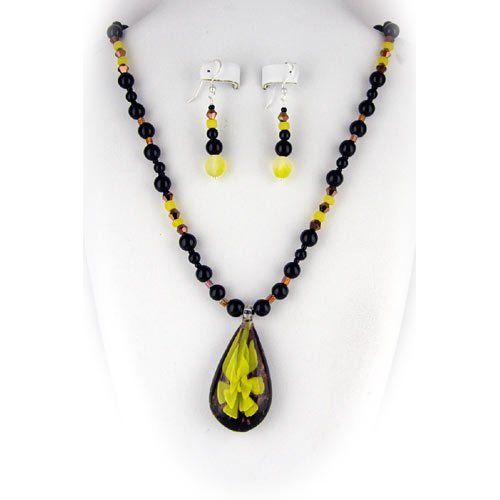 Murano Glass Yellow Flower Pendant Black Onyx Stone Beads Sterling Silver Necklace Earrings Sets by Joyful Creations. $24.99