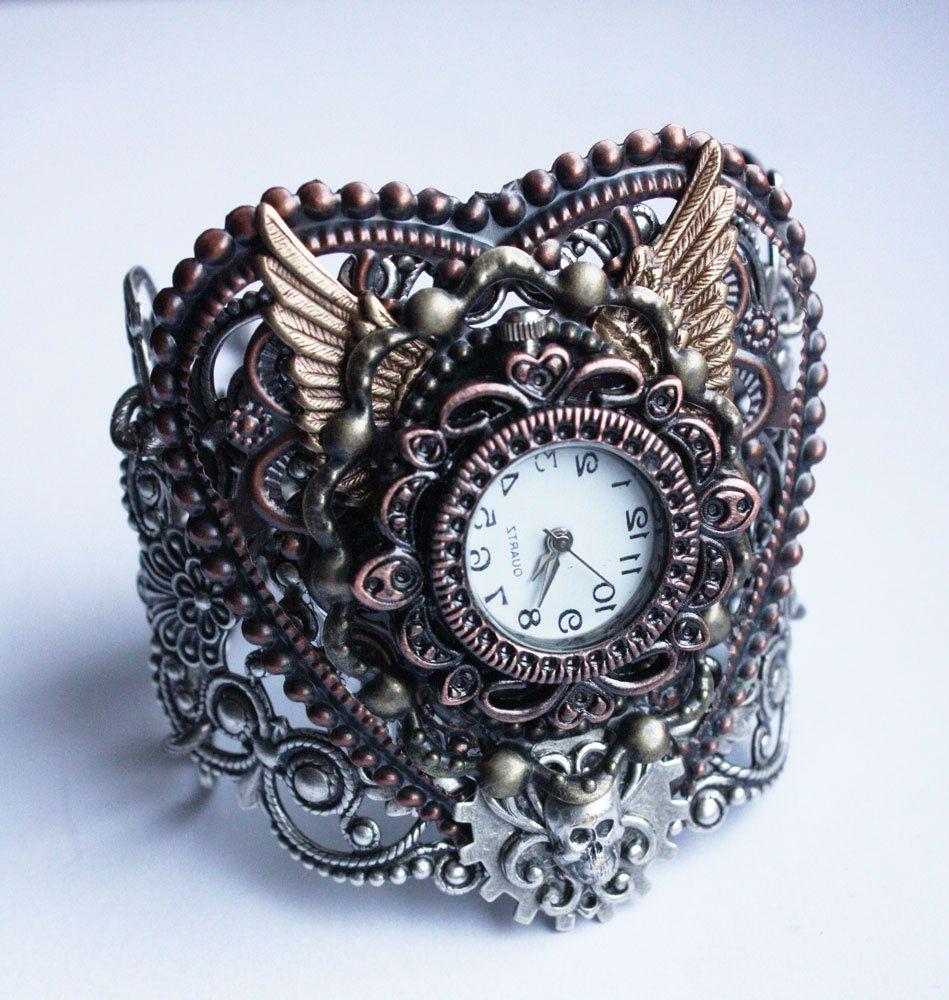 Steampunk Watch Gothic jewelry Bracelet cuff by pinkabsinthe