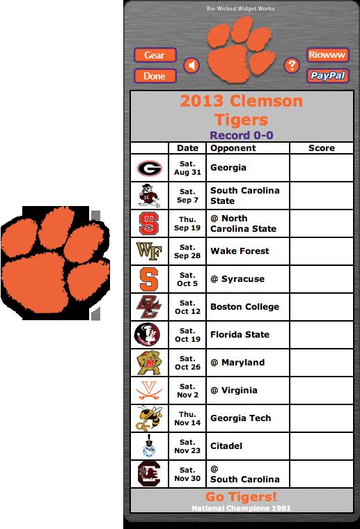 Free 2013 Clemson Tigers Football Schedule Widget Go
