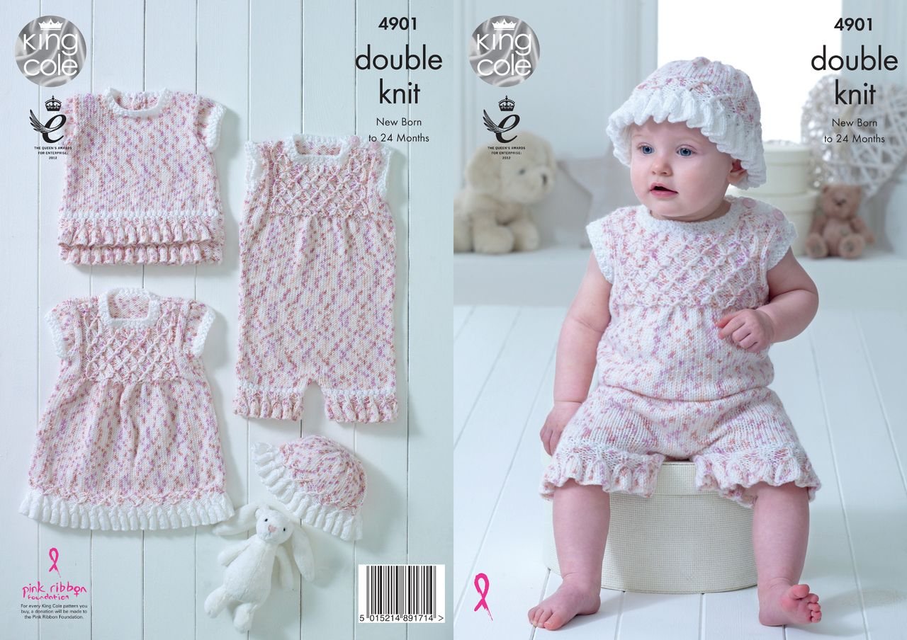 1d29369ef28a King Cole Double Knitting Pattern - Frilled Baby Set (4901)
