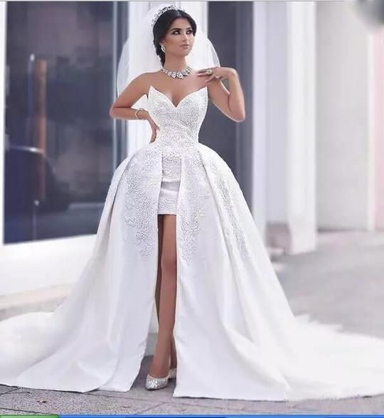 Suosikki 2017 High Low Short Front Long Back Beach Wedding: New Arrive High Low Lace Beading Beach Wedding Dress Front
