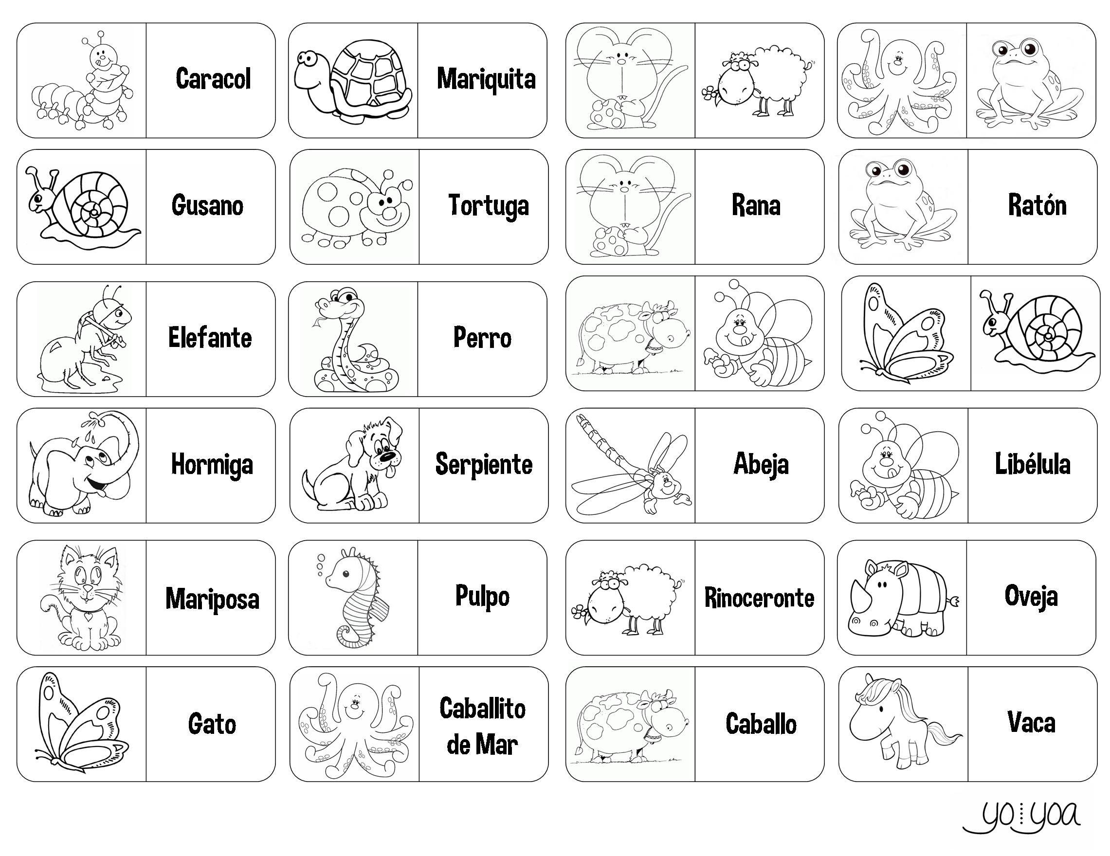 Dominó Infantil De Animales Para Colorear, Recortar Y
