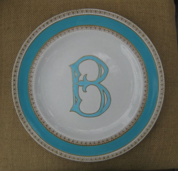 """""""A"""" 6 3/4"""" Small White Ironstone Plate with Gray Letter - Kelly Wilson"""