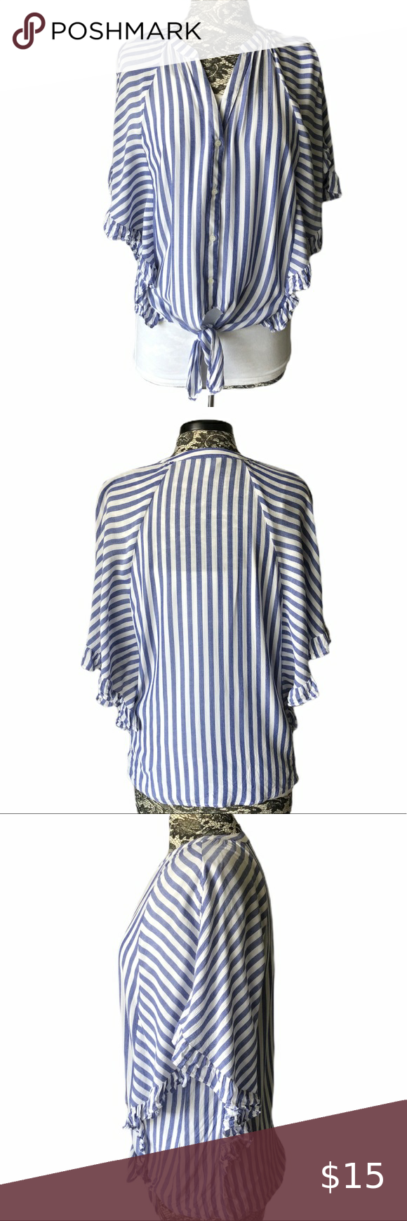 Belle Sky Striped Blouse Blue White Medium Blue And White Striped Blouse With Oversized Shirt Sleeves Button Front Blue Striped Blouse Striped Blouse Striped