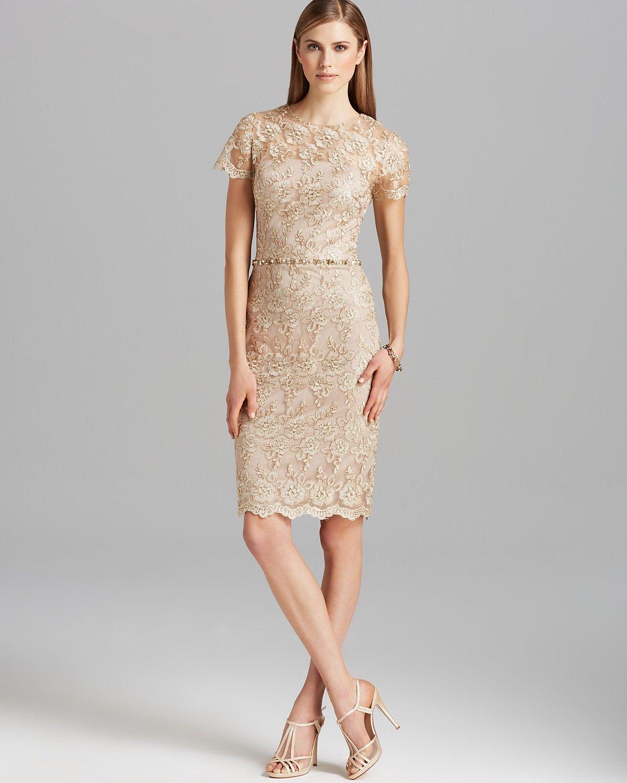 David meister dress short sleeve metallic lace beaded waist