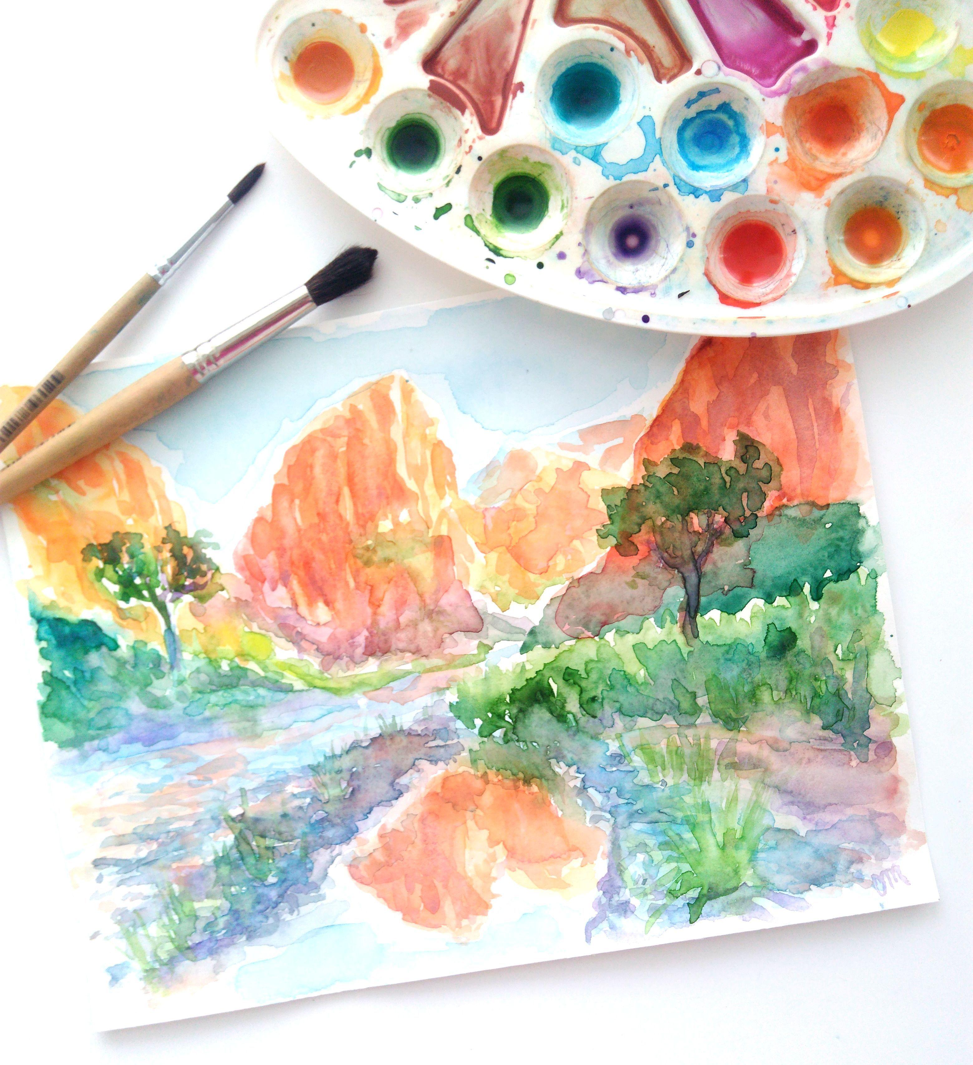 Zion National Park Watercolor Original Painting Southwest Mountain