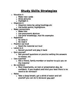 Bon I Use This Sheet With Older Elementary And High School Students To Discuss  Strategies For Memorization