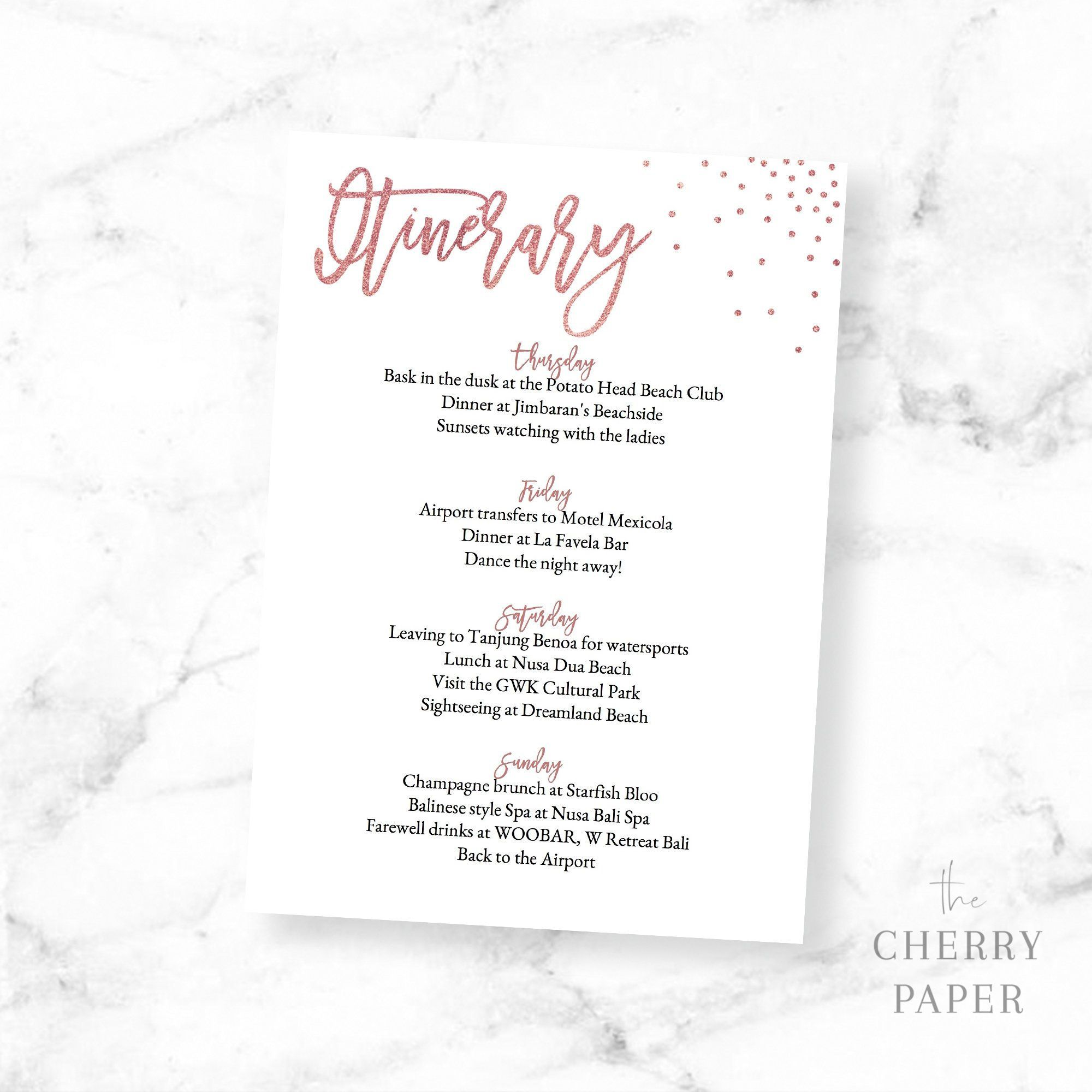 4 Day Itinerary Card Itinerary Template Rose Gold Editable Etsy Itinerary Template Bachelorette Weekend Invitations Editable Invitations