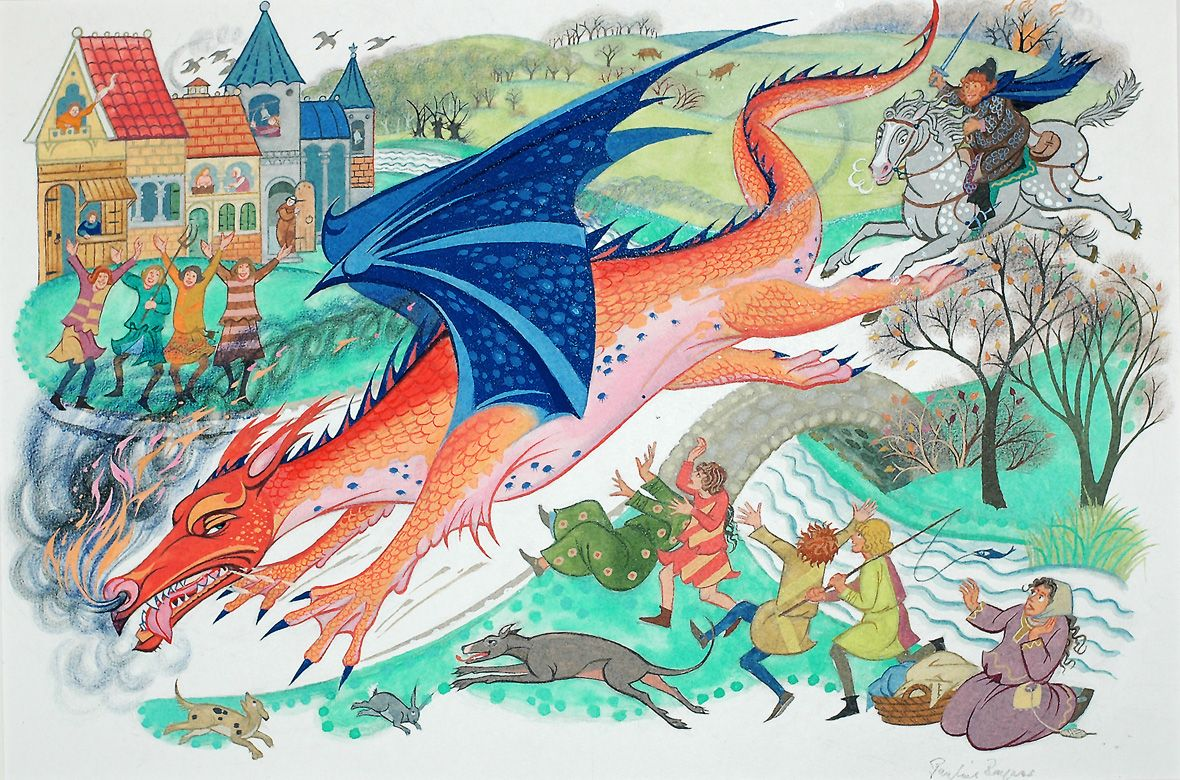 "The dragon Chrysophylax from Tolkien's story ""Farmer Giles of Ham"". By Pauline Baynes"