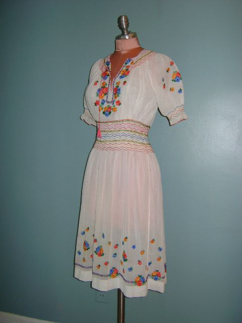 24d642faabc320 Vintage original 1940s sheer cotton Hungarian embroidered bohemian dress