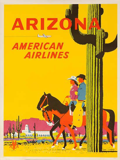 DP Vintage Posters - Arizona American Airlines Original Travel Poster Cowboy Couple