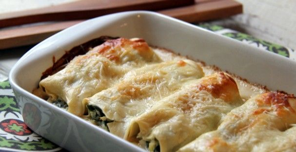 Photo: Chicken, spinach and artichoke filling in lasagna noodles makes an easy cannelloni dish. - Memphis, TN | The Commercial Appeal