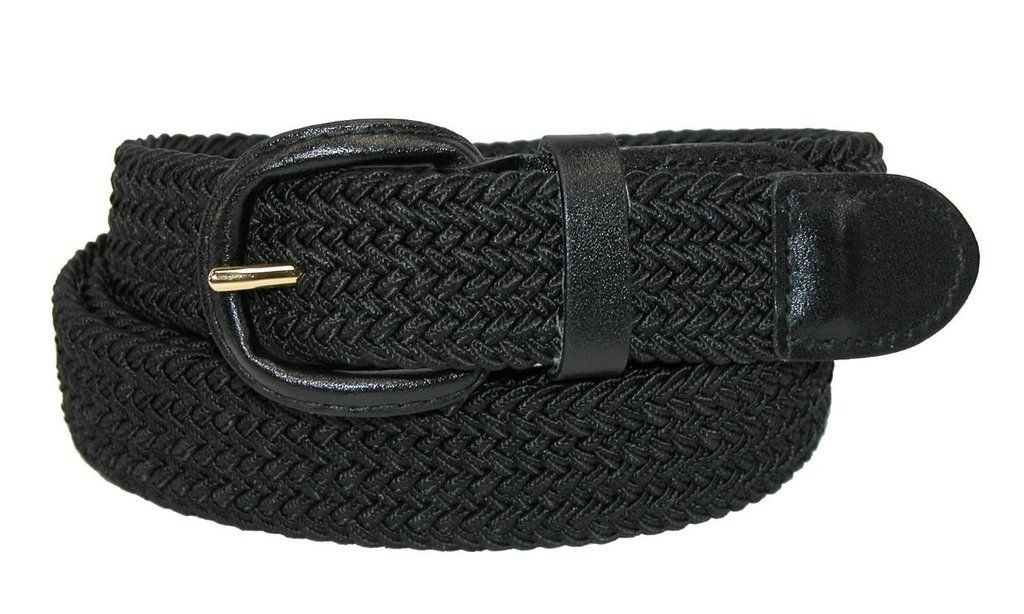 Streeze 30mm Stretch Belt Braided Elastic Webbed Belt with Gold Coloured Buckle