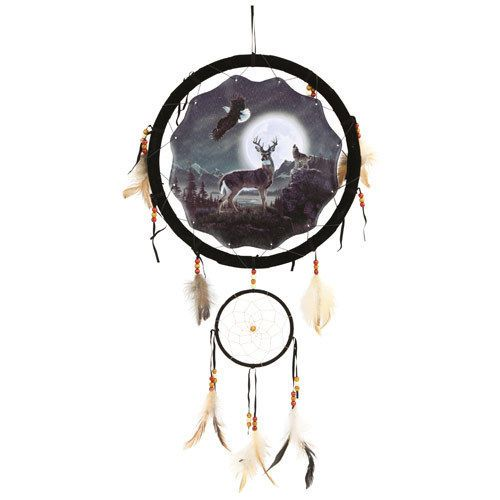 """13/"""" Wolf Indian Horse Dream Catcher Wall Hang Decor Feathers Beads Gift DCB1324"""