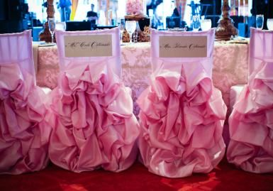 beautiful ruffled chair covers in pale pink create a soft