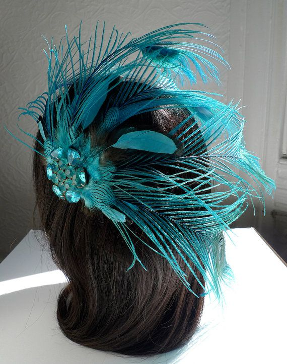Turquoise Feather Fascinator Vintage Brooch Peacock Plumes ... 94eb5de75eb