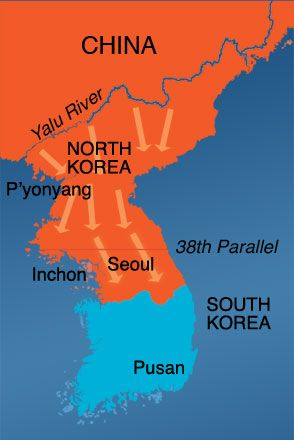 un troops reach the chinese korean border at the yalu river only to be driven out of north korea and back across the by the chinese seoul is once again