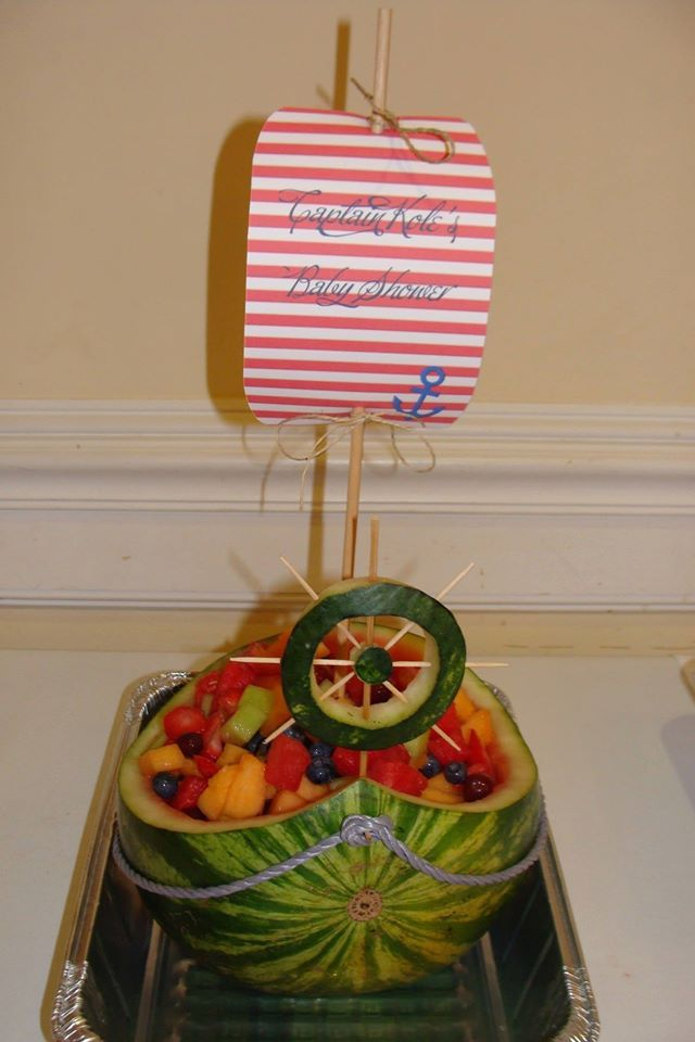 Ahoy, it's a boy fruit boat my husband make for my daughter's baby shower!