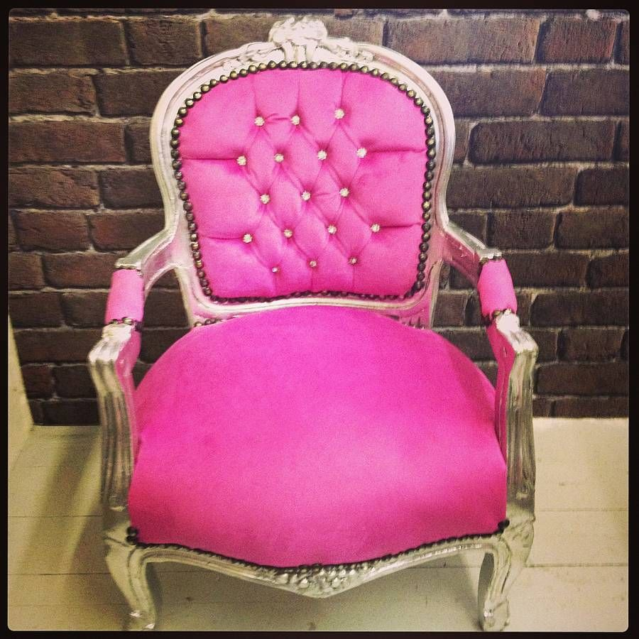 Hot Pink Vintage Style Childrens Chair - Hot Pink Vintage Style Childrens Chair Throne Chair, Boutique