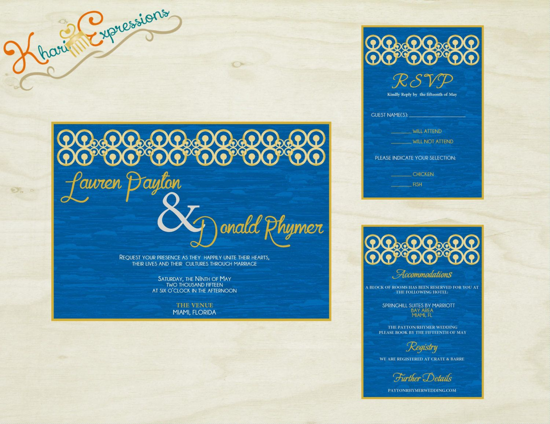 Tauqir Wedding Invitation Suite Printable African Adinkra