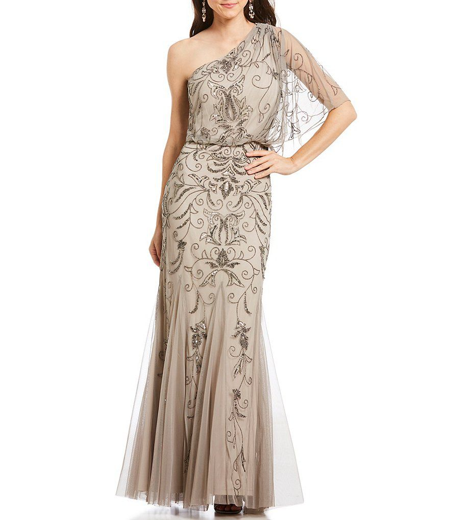 Adrianna Papell One Shoulder Beaded Blouson Gown | Prom 2018 ...