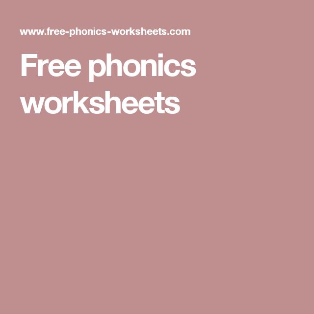 Free phonics worksheets Education Children Pinterest