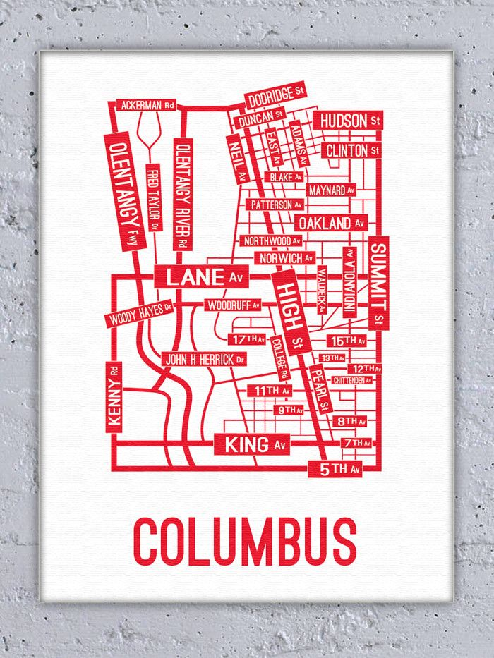 Columbus Ohio Street Map Canvas from School Street Posters
