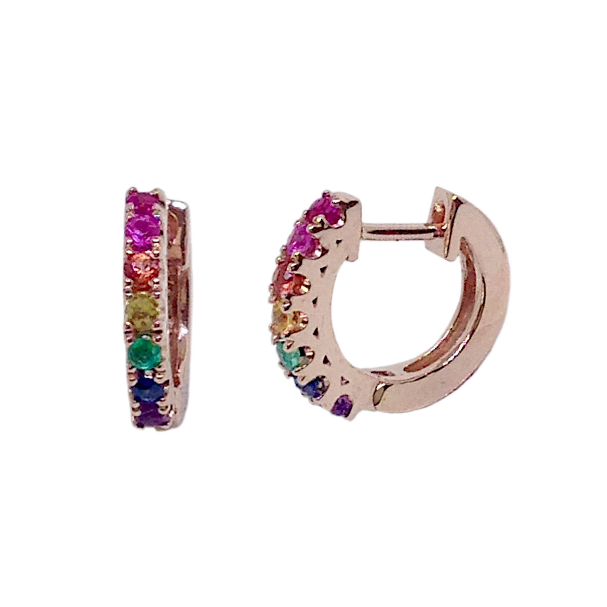 14K Gold & Rainbow Gemstone Thick Huggie Hoop Earrings 11mm x 6mm
