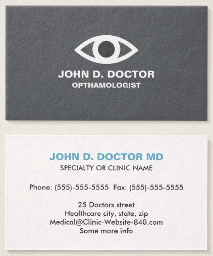 Opthamologist Or Optometrist Gray Business Card Medical Business