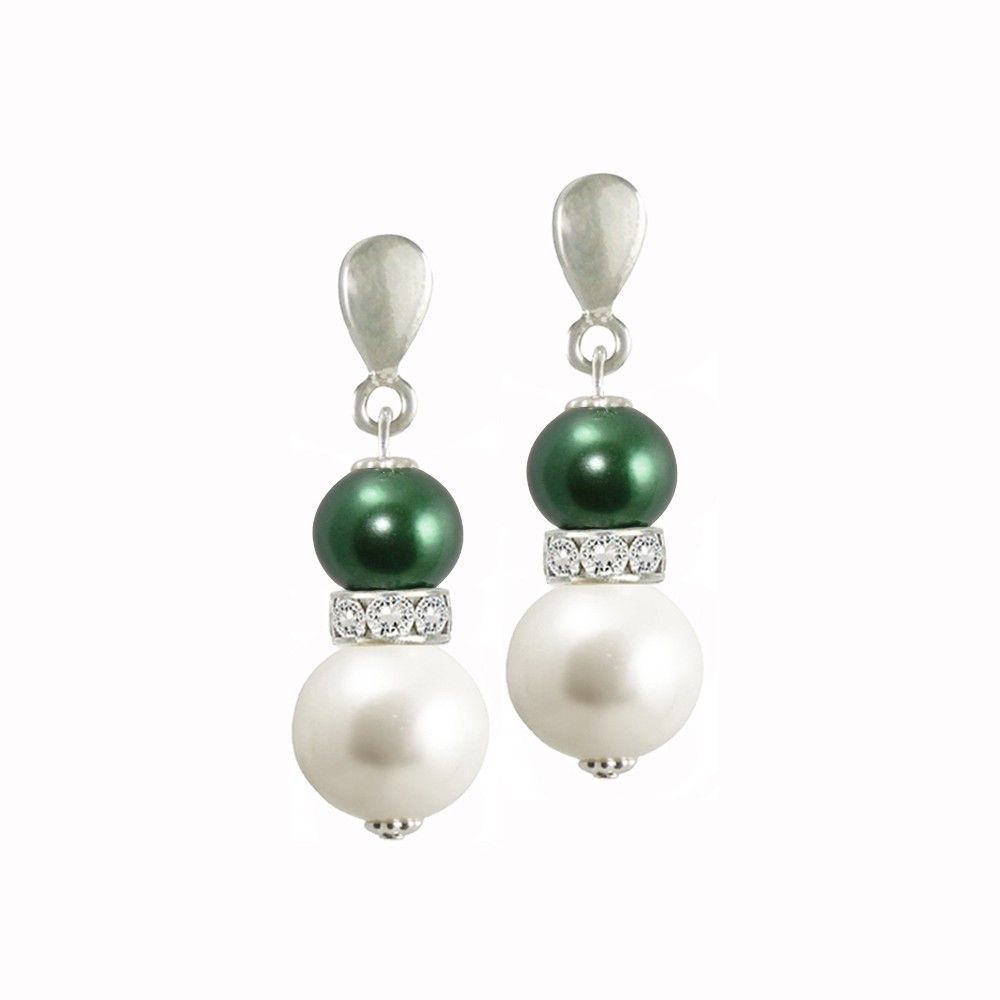 Romanza White Shell Pearl and Emerald Green Swarovski Crystal Necklace GP5W57