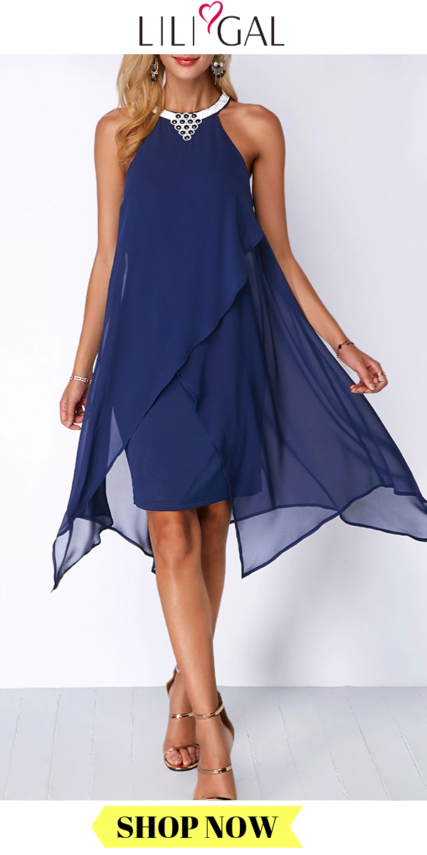 USD35.14  Spring Summer Navy Blue Embellished Neck Asymmetric Hem Sleeveless Chiffon Overlay Dress -   13 dress Coctel vestidos ideas