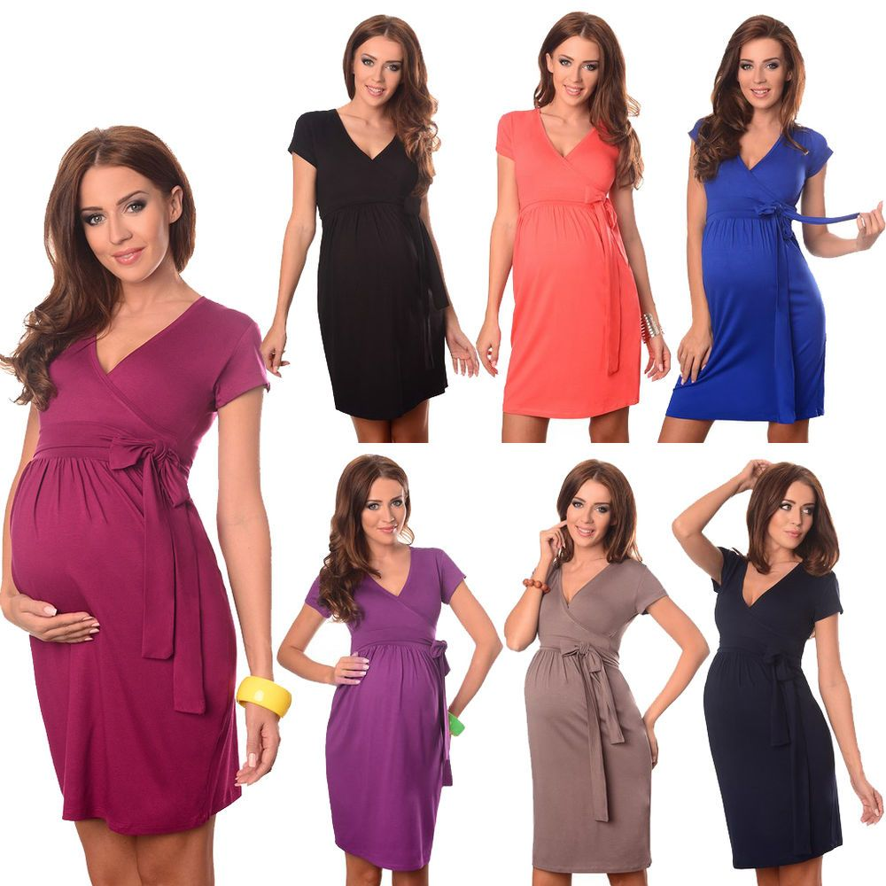 3ffa4a55f88 Maternity Cocktail Dress V-Neck Pregnancy Clothing Wear Size 8 10 12 14 5416