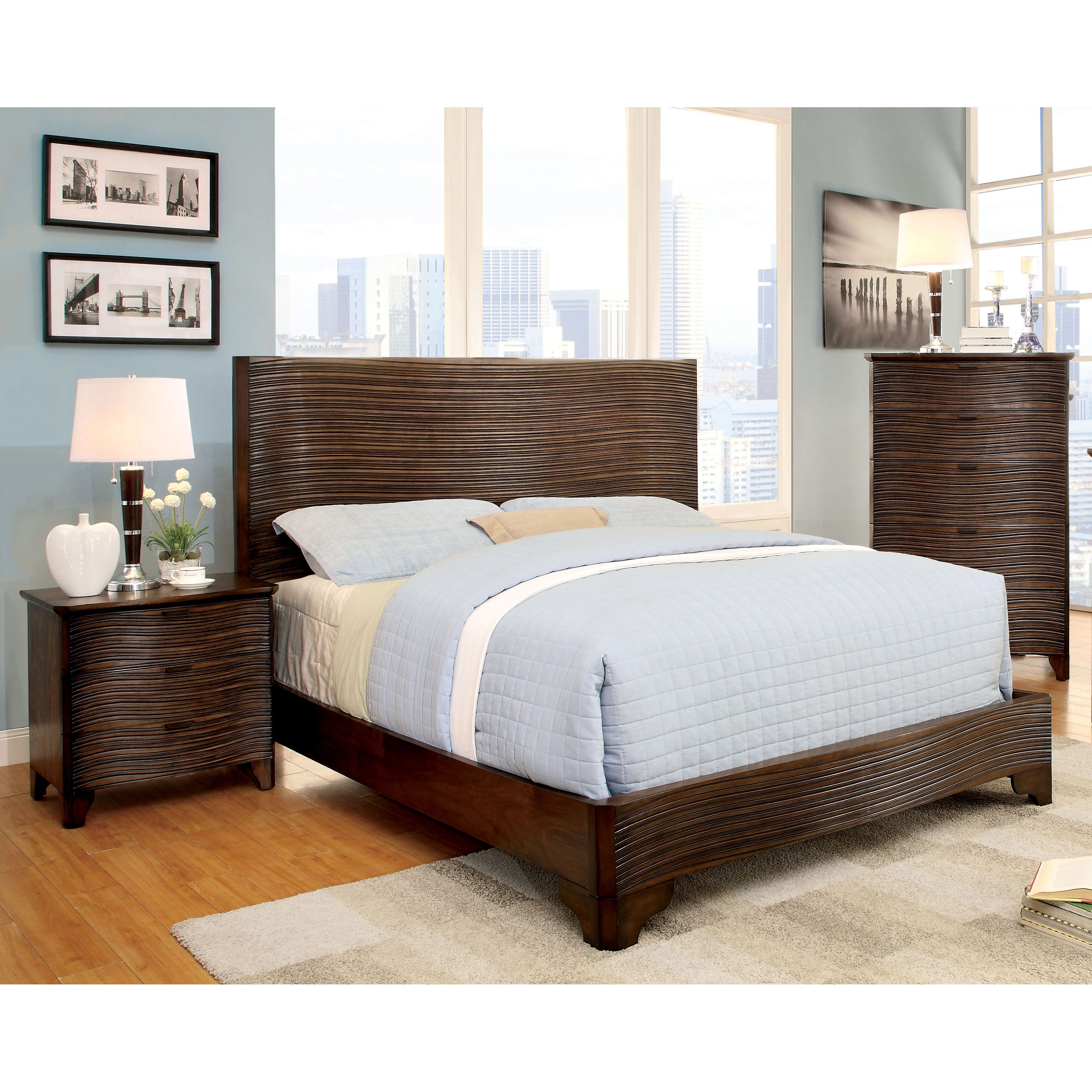 Furniture of america titanean piece textured rustic bedroom set by