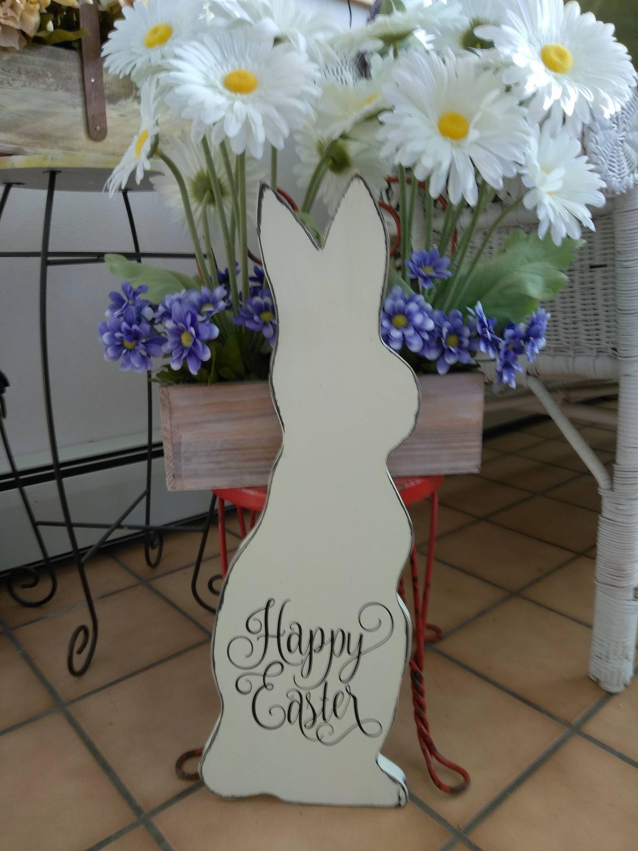 Bunny Rabbit Happy Easter Distressed Rustic Farmhouse Wood Vinyl