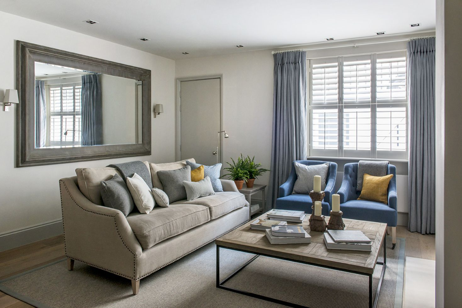 Best Bright Modern Sitting Room With Grey Blue And Mustard 400 x 300