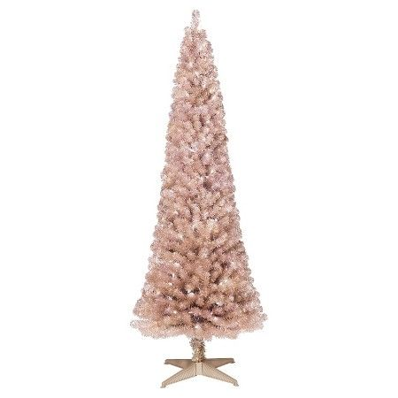 6ft Pre-Lit Artificial Christmas Tree Slim Rose Gold Spruce ...
