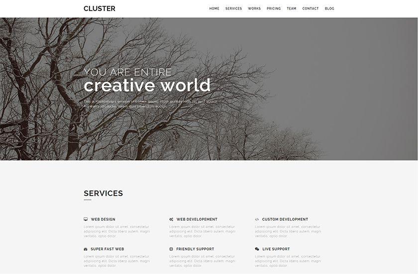 Cluster Free Creative Portfolio Bootstrap Template Readytheme Bootstrap Template Creative Portfolio Business Template