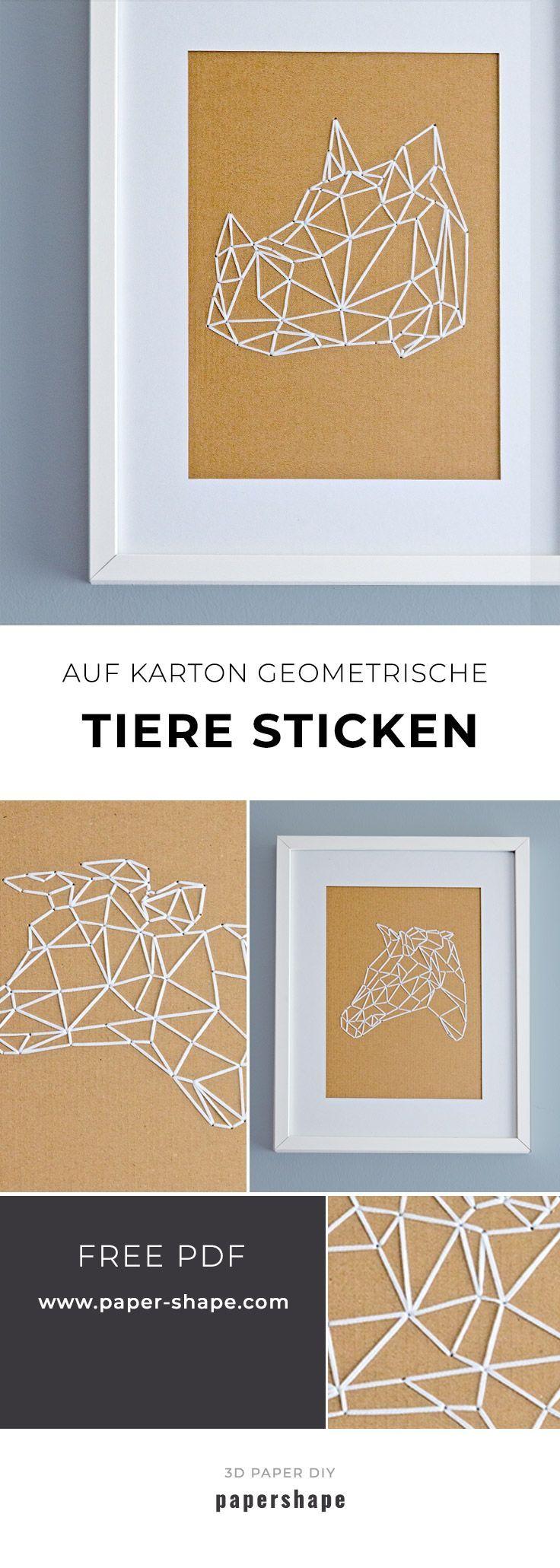 Animaux géométriques brodés sur carton (avec modèle gratuit)   – Basteln mit Papier – Papershape Vorlagen