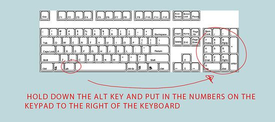 Type Symbols Using The Alt Key Pinterest Alt Symbols And Key