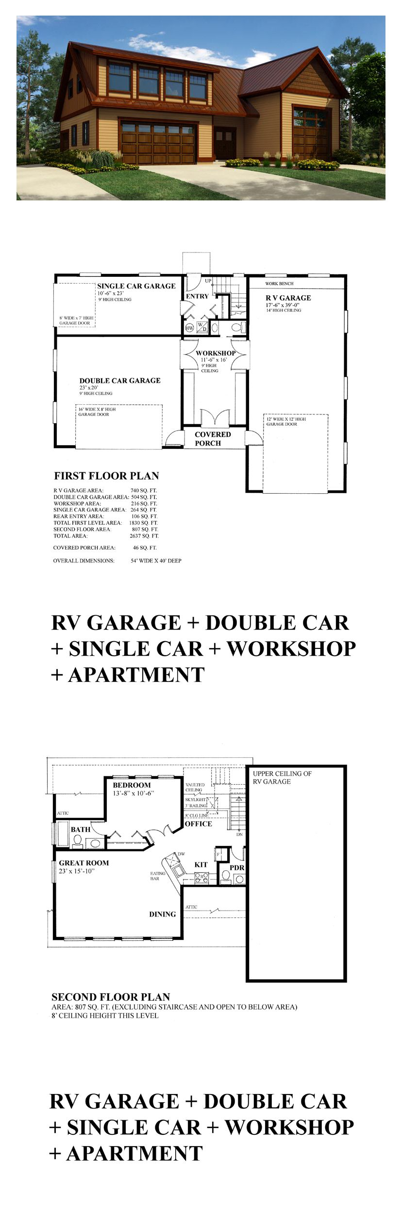 Garage apartment plan 76029 total living area 913 sq for Garage apartment plans nz