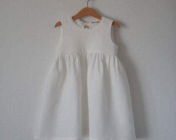 Robe en lin, robe fille lin, robe en lin pour les filles, filles de fleur robe, robe à fleur, robe en lin fleur, robe de fille de fleur