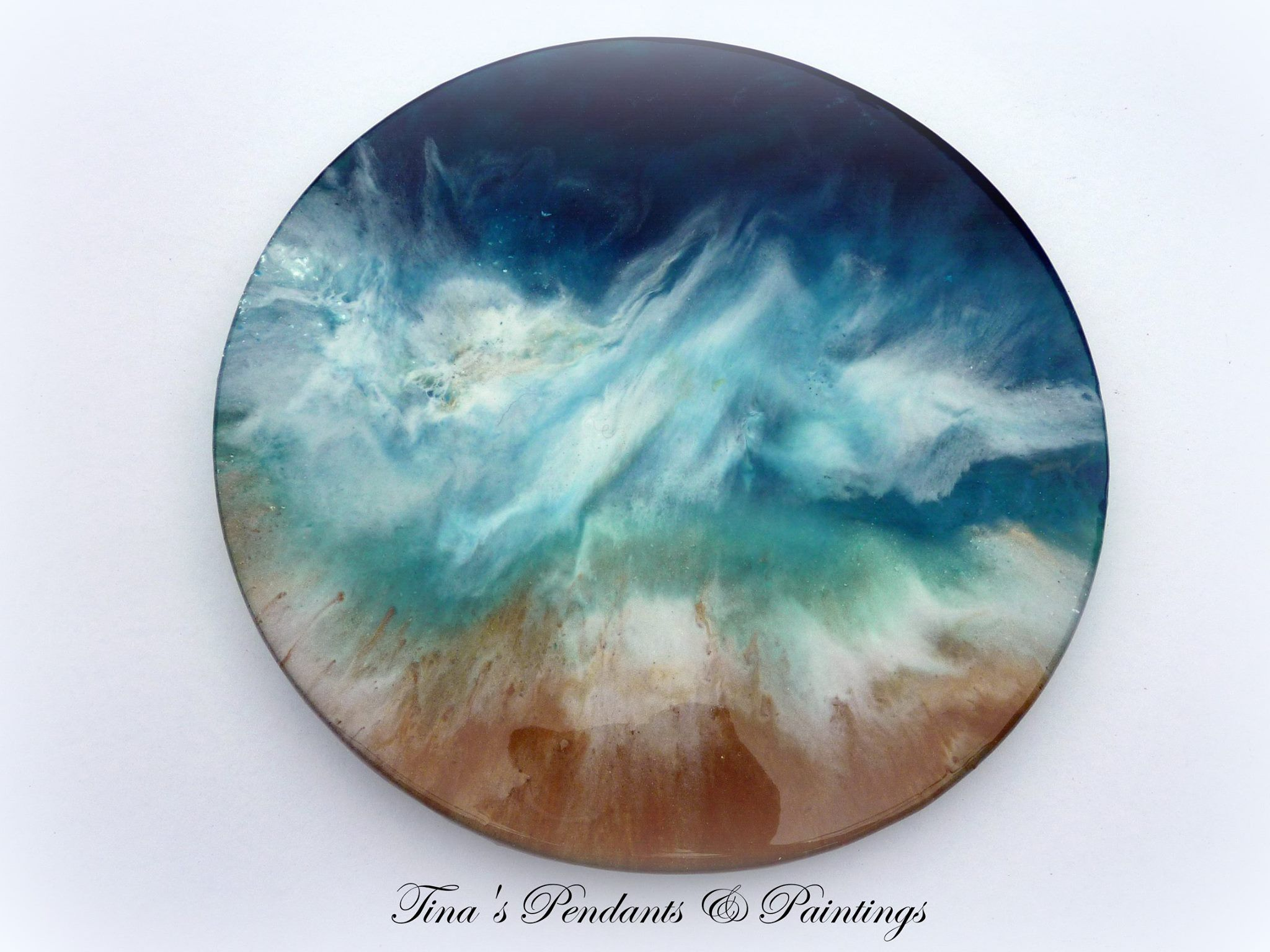 Lazy susan hand painted and epoxied