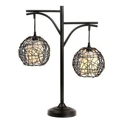 Antique bronze wicker swirl table lamp